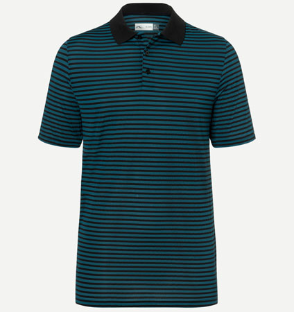 KJUS MEN LUIS STRIPE POLO  DEEP DIVE/BLACK