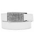 Sleek Crystal White ラチェット式ベルト