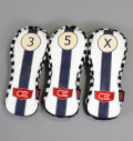 AM&E excors original Stripe Headcover Fairway White/Navy B/W Checker