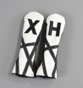 "Rose&Fire White with Black ""Crazy Stripes"" Premium USA Leather Hybrid Headcovers"