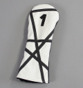 "Rose&Fire White with Black ""Crazy Stripes"" Premium USA Leather Driver Headcovers"