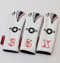 "Rose&Fire Limited Edition White Lether ""Bomber/Warhawk"" Premium USA Leather  Fairway Headcovers"