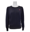 Fairy Powder FP20-6106 Women's Cashmere Cable Knitting Sweater Navy