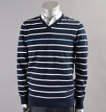 AG Green Label FARRELL STRIPE V NECK NAVAL BLUE/BRIGHT WHITE/CLEAR SKY