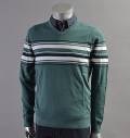 AG Green Label TILTON STRIPE V-NECK TURF/B.WHT/NVL BLUE