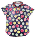 Fairy Powder FP20-2112 Women's Fruit Basket Print Polo Navy