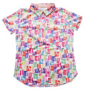 Fairy Powder FP20-2105 Women's Multi Stamp Pattern Print Polo White
