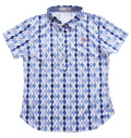 Fairy Powder FP20-2108 Women's Diamond Pattern Print Polo Blue
