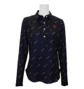 Fairy Powder FP20-6100 Women's Long Sleeve Print Polo Navy