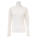 Fairy Powder FP20-6101A Women's Diamond Pattern Hi-Neck Shirts White