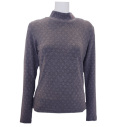 Fairy Powder FP20-6101A Women's Diamond Pattern Hi-Neck Shirts Gray