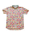 Fairy Powder FP20-1105 Multi Stamp Pattern Print Polo Yellow