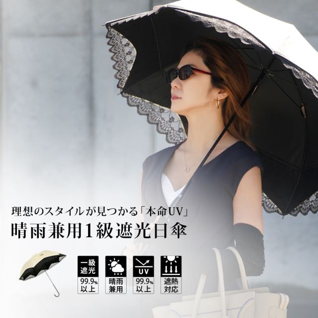 晴雨兼用一級遮光日傘 紫外線カット UV99.9%カット 遮光率99.9% 遮熱対応 シャンパンゴールド