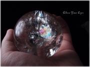 レアな石達 レインボー水晶玉 70mm