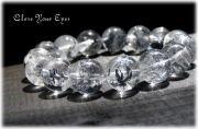レアな石達  銀色の閃光 スティブナイト・イン・クォーツ 12mm玉ブレス 画像1