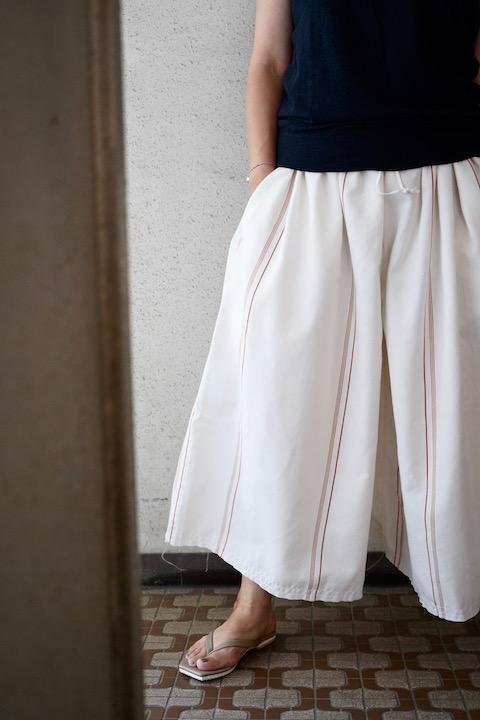 ARTE POVERA コットンテンセルストライプ巾着パンツ