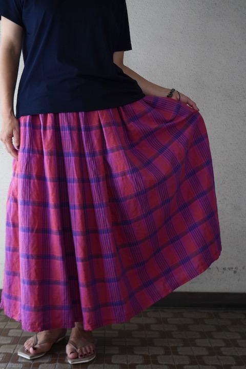 ARTE POVERA チェックギャザリングスカート