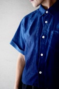 Blue Blue JAPAN リネン本藍グラデーションワイドスリーブシャツ
