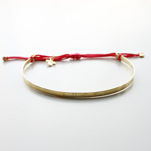 Gag et Lou/【LUCKY】Bracelet with message gold plated with polyester color link Color/Fushia