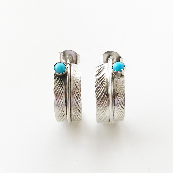 HARPO/BO03 Small Feather Earrings with Turquoise