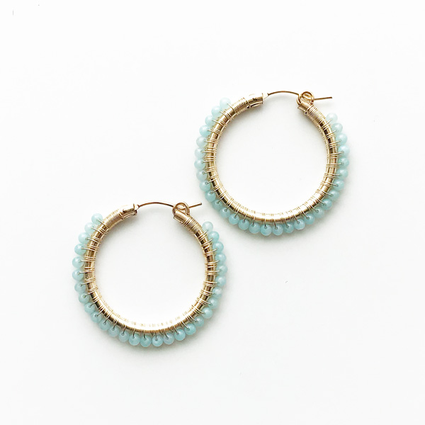 "viv&ingrid/1.25""14K gold filled endless hoop wrapped w/amazonite MEDIUM"