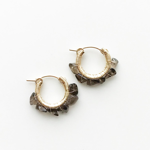 viv&ingrid/.75'' 14k gold fill hoops hand-wrapped with semiprecious Smoky Quartz chip stones. SMALL