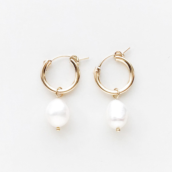 Wolf Circus/Small Pearl Hoops in 14K Gold Plated