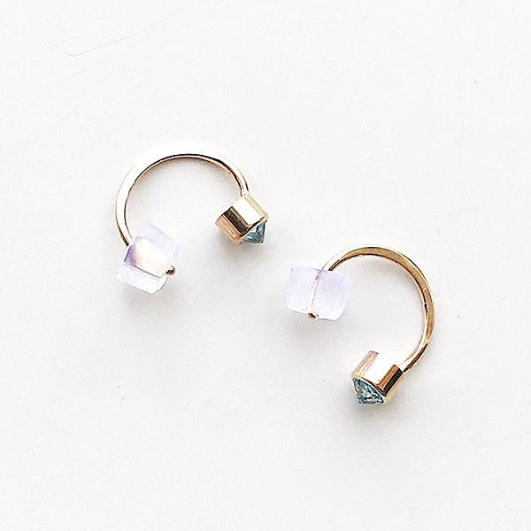 MELISSA JOY MANNING/ 14 karat yellow gold bezel-set swiss blue topaz hug earring