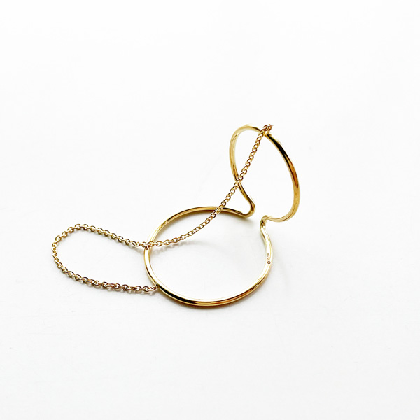 Saskia Diez/X WIRE EARCUFF DOUBLE NO2 CHAINED 925 AG, GOLD-PLATED
