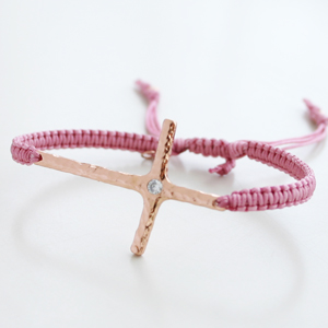 Tai Jewelry/cross embraided with clear quart Braided pink silk cord with large hand hammered