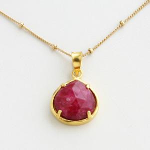 CORALIA LEETS/12MM Mini TD Pendant ball chain necklace IN RUBY QUARTZ