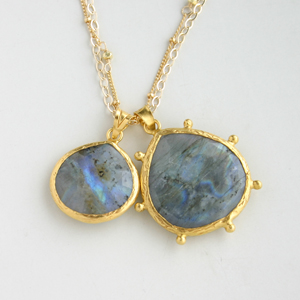 CORALIA LEETS/DC Double Stone Necklace-Mother&Daughter IN LABRADORITE