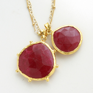 CORALIA LEETS/DC Double Stone Necklace-Mother&Daughter IN RUBY QUARTZ