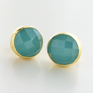 CORALIA LEETS/12MM SMALL ROUND POST EARRING IN PERUVIAN OPAL