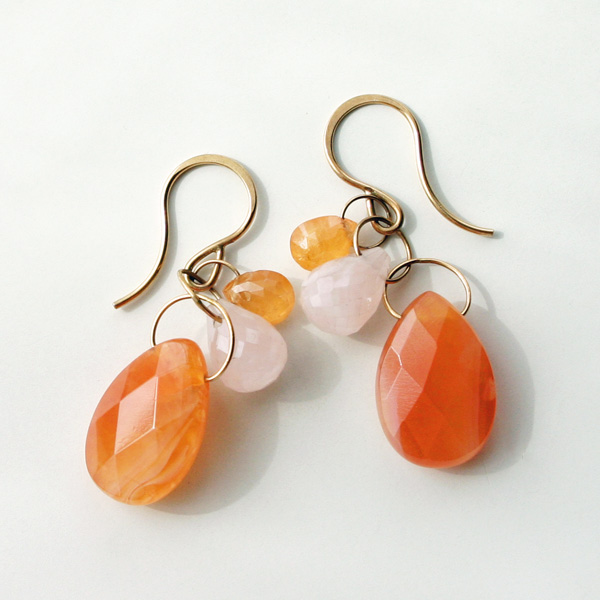 MELISSA JOY MANNING/14k yellow gold triple drop earring with Fanta garnet,pink chalcedony, and Botswana agate