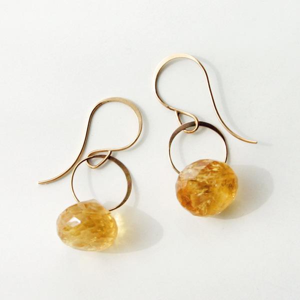 MELISSA JOY MANNING/14k yellow gold citrine earrings