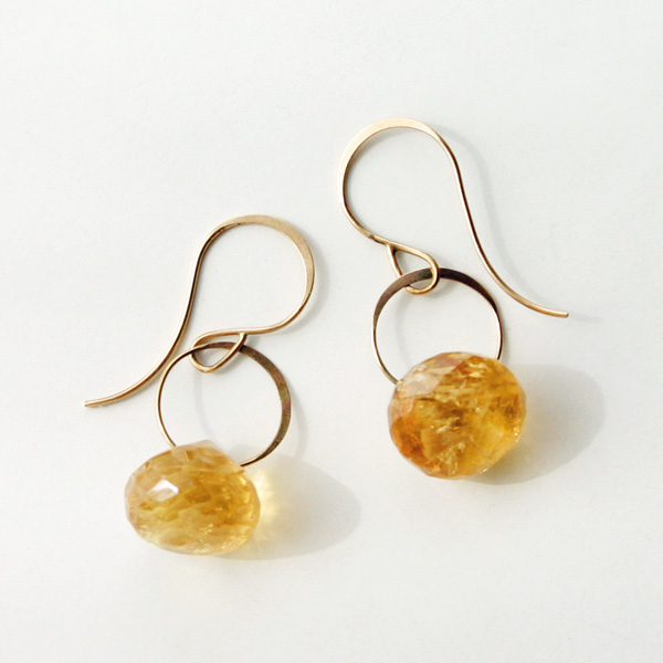 MELISSA JOY MANNING/14k yellow gold citrine earrings