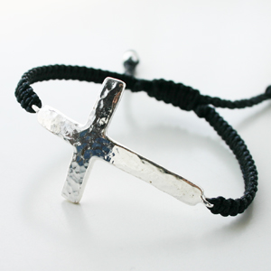 Tai Jewelry/MEN-Hand braided black cord with silver hammered cross bracelet