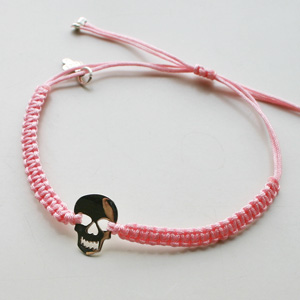 "Gag et Lou/Bracelet ""Tiny lace"" silver plated on macrame polyester cord"