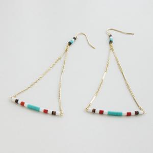 RueBelle Designs/Earrings 14k gold filled chain & findings horn Multi & Gold