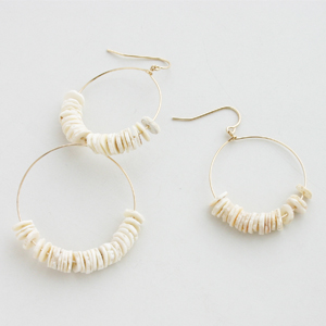 RueBelle Designs/Earrings 14k gold filled chain & findings fossilized puka shell Shell & Gold