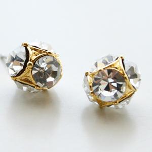 Yochi NY/Q Stone Cube Earring in Gold