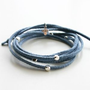 【on SALE!】 Gag et Lou/Suedine bracelet with studs in silver