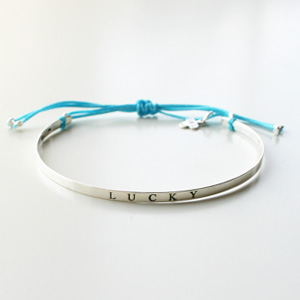 Gag et Lou/【LUCKY】Bracelet with message silver with polyester color link Color/Turquoise