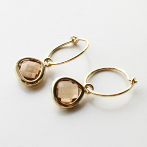 【on SALE!】 Gag et Lou/earring with mini stone gold plated Color/Chocolate
