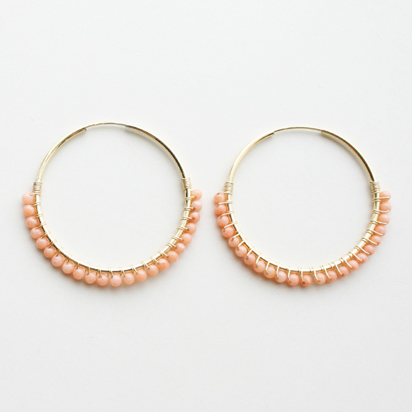 "【20%OFF】 viv&ingrid/1.25""14K gold filled endless hoop wrapped with Peach Coral MEDIUM"