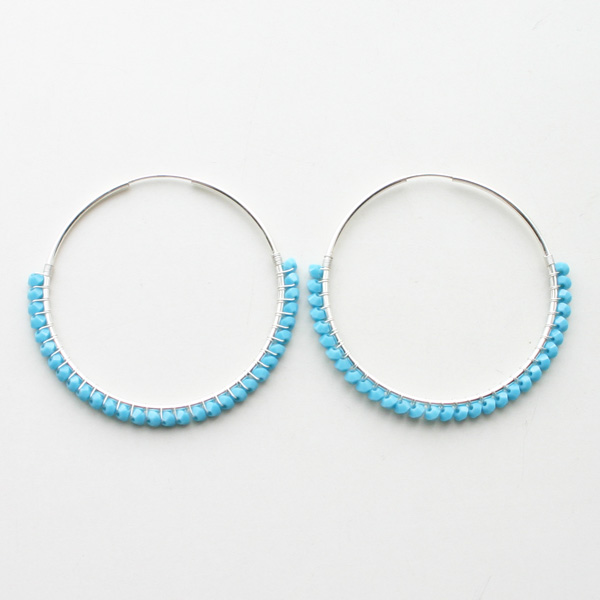 "viv&ingrid/1.75""1Sterling Silver endless hoop wrapped with Turquoise Swarovski LARGE"