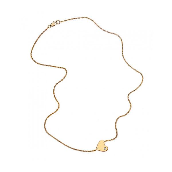 【訳アリ商品】jennifer zeuner/Mia Horizontal Heart Necklace with diamond    ※ハート裏側にキズがあります(画像参照)
