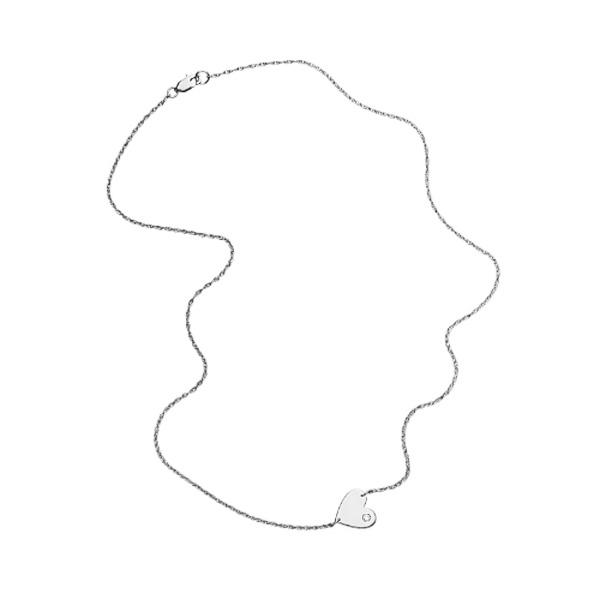 jennifer zeuner/Mia Horizontal Heart Necklace with diamond
