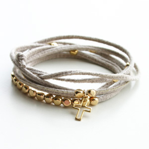 Gag et Lou/Suedine bracelet with mini charms gold plated Cross/Grege